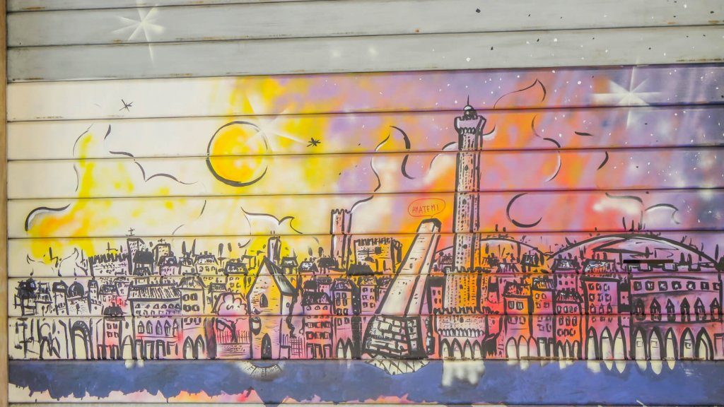 Grafitti, na ktorom je zobrazené mesto Bologna